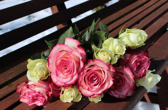 Roses, Bouquet, Bench, Flowers, Pink Roses, White Roses