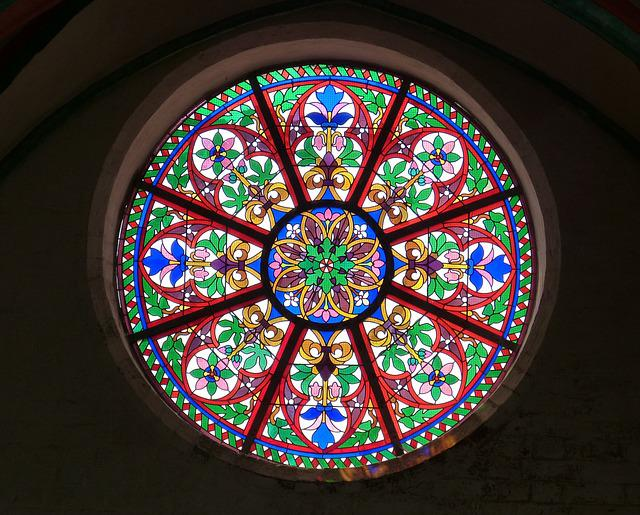 Church Window, Window, Rosette, Glass Window