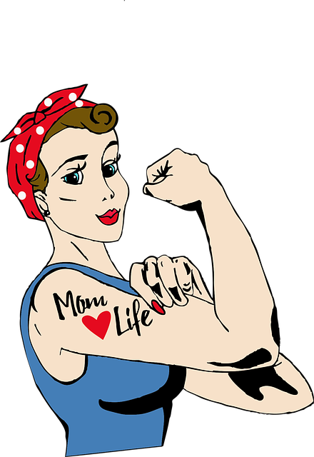 Mom, Tattoo, Rosie, Riveter, Vintage, Retro, Feminism