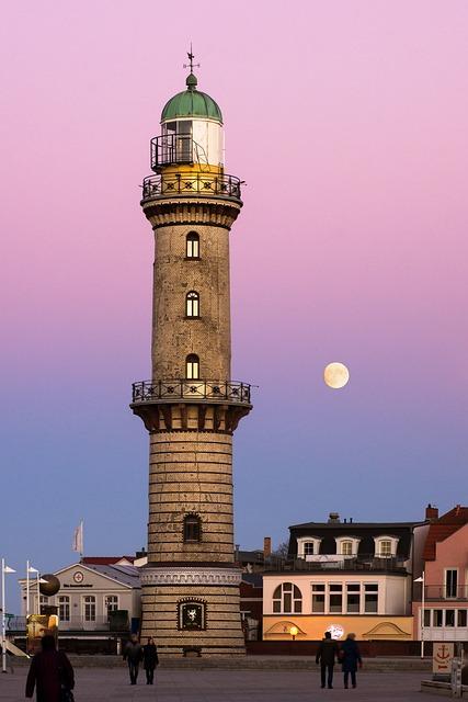 Moon, Architecture, Warnemünde, Rostock, Lighthouse