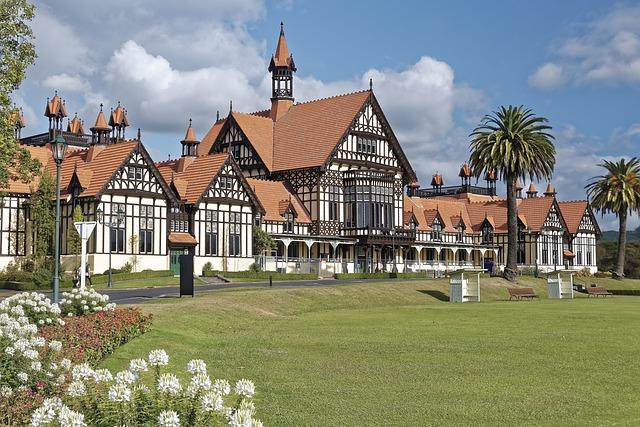 New Zealand, Rotorua, Tudor Towers, Architecture, House