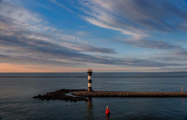 Waters, Sunset, Sea, Lighthouse, Dawn, Rotterdam