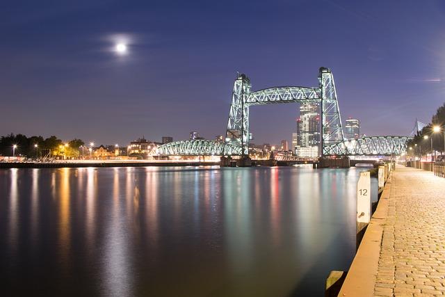 Rotterdam, Netherlands, Bridge, River, Water