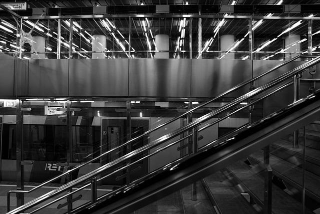 Stairs, Rotterdam, Station, Black White