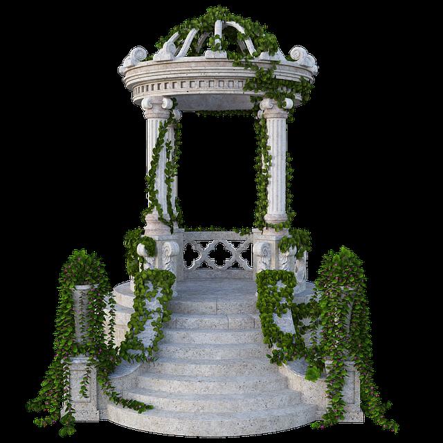 Rotunda, Pavilion, Ivy, Leaves, Stairs, Steps, Round