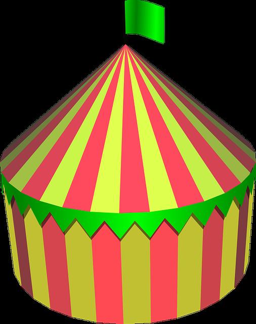 Circus Tent, Circus, Tent, Round, Colorful, Festival