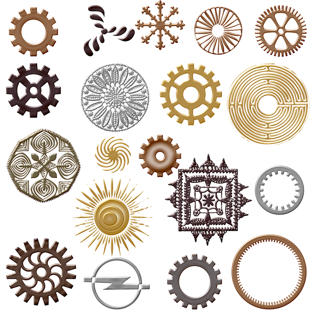 Steampunk Gears, Round Metal Shapes, Labyrinth, Gears