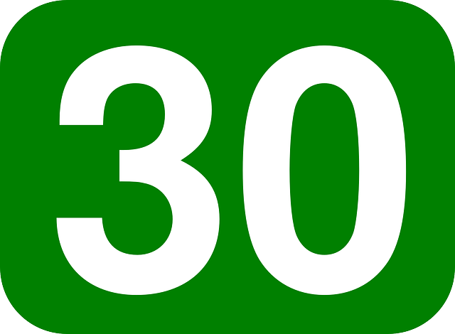 Thirty, Number, Rounded, Rectangle, Green, White, 30