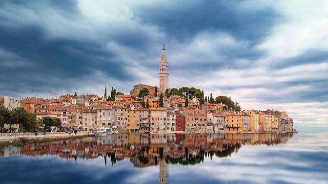 Skyline, Rovinj, Croatia, Water, Mirroring, Istria