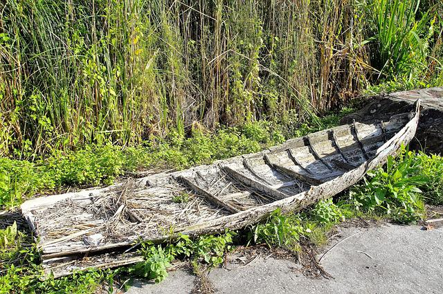 Rowboat, Debris, Barge, Ruined, Rotten