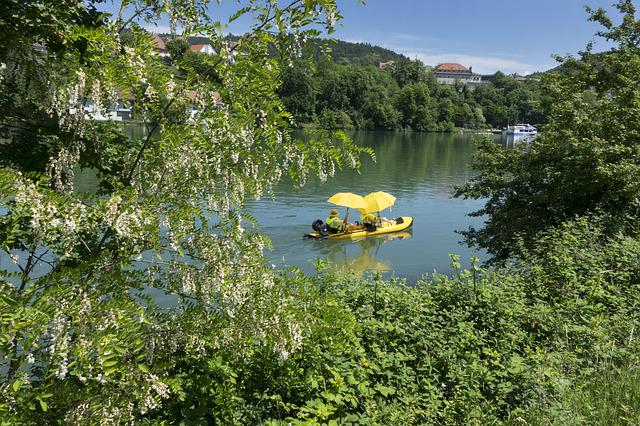 Rhine, Boat, Water, Pedal Boat, Parasol, Rubber Boot