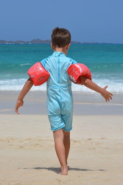 Boy, Beach, Sea, Rubber Rings, Uv Suit, Child, People
