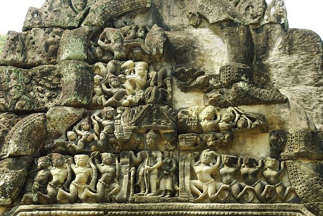 Cambodia, Angkor, Temple, Bayon, Ruin, Bas-relief