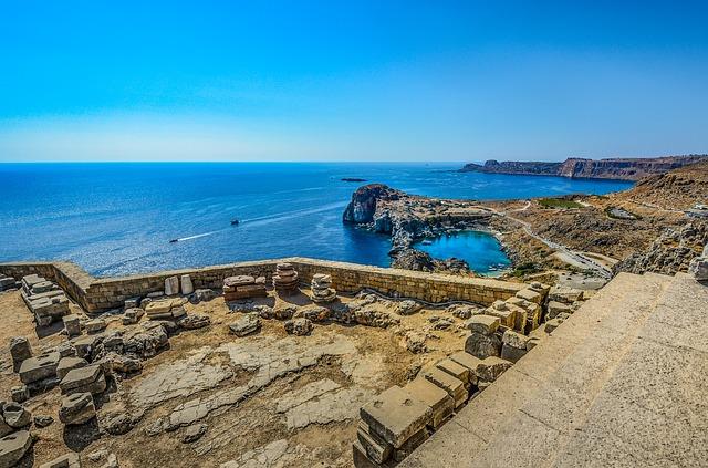 Lindos, Rhodes, Greece, Sea, Mediterranean, Ruins