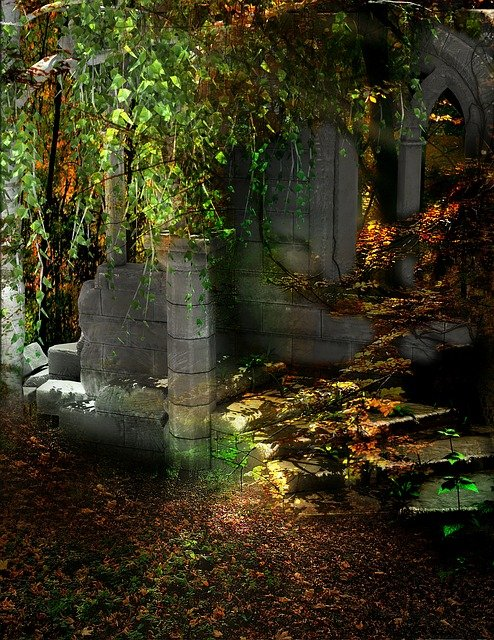 Forest, Ruins, Trees, Green, Architecture, Stone