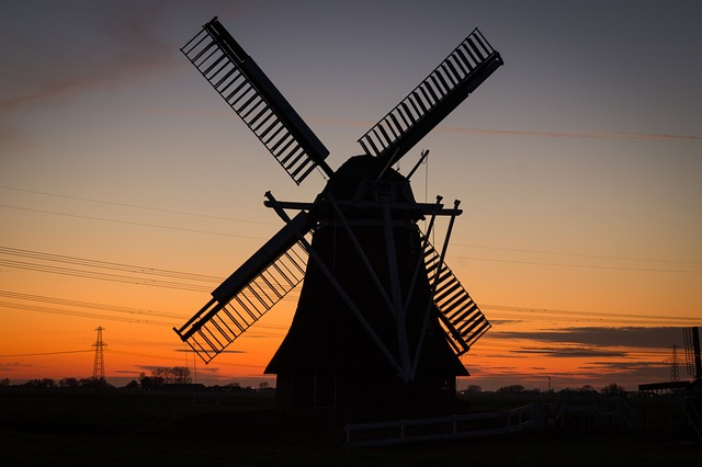 Windmill, Rural, Twilight, Netherlands, Dutch, Holland
