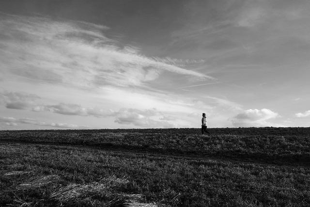 Person, People, Dike, Embankment, Grass, Sky, Rural