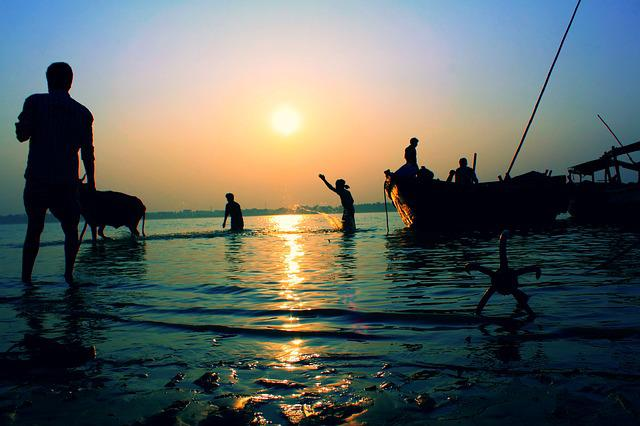 Landscape, River, Sunset, Bengal, Rural, Villagers