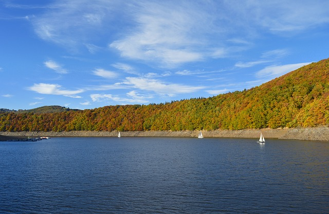 Rurtalsperre, Eifel, Lake, Water, Germany, Landscape