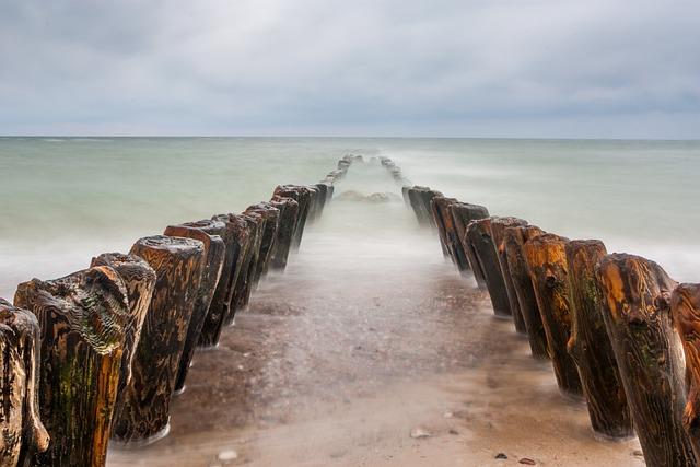 Baltika, Russia, Sea, Breakwater, Beach, Mood, Clouds