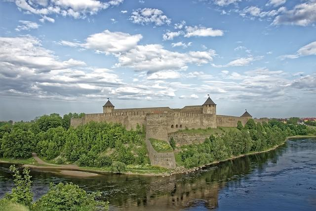 Russia Estonia, Fortress Of Ivangorod, Narva River