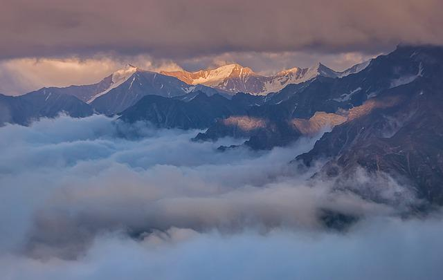 The Caucasus, Russia, Mountains, Fog, Sunset, Clouds