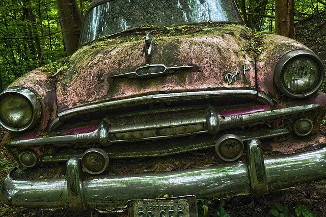 Auto, Car Cemetery, Oldtimer, Old, Rust