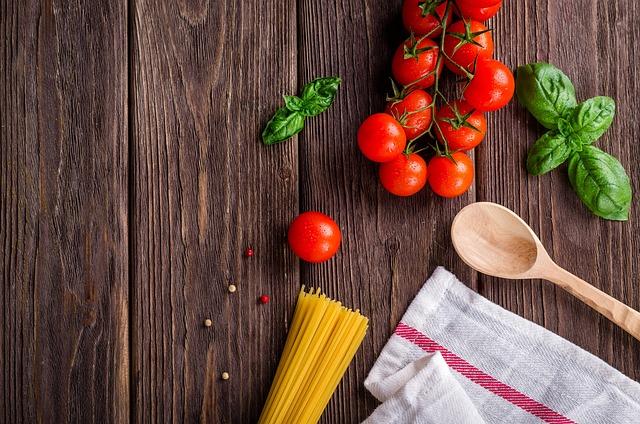 Spaghetti, Tomatoes, Basil, Wooden Spoon, Rustic