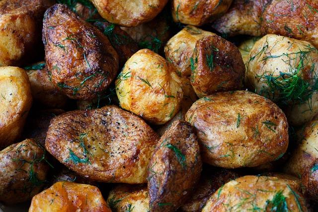 Delicious, Garnish, Potatoes, Fried, Food, Rustic
