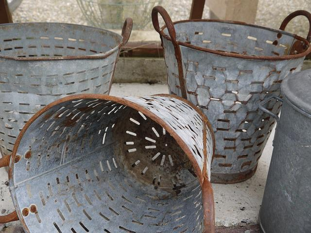Mussel Buckets, Buckets, Vintage, Baskets, Metal, Rusty