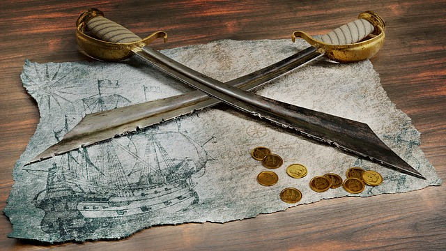 Discovery, Background, Map, Sword, Sabre, Pirate, Coins