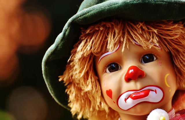 Doll, Clown, Sad, Colorful, Sweet, Funny, Toys