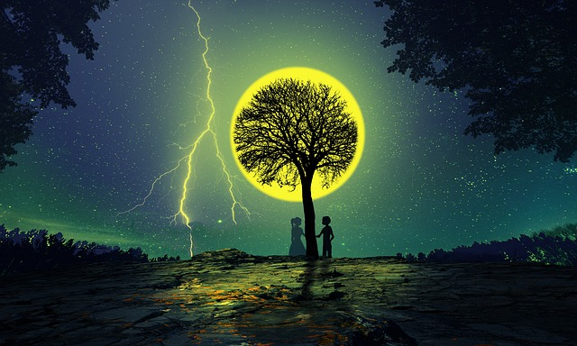 Moon, Love, Nature, Silhouette, Sad, Sky
