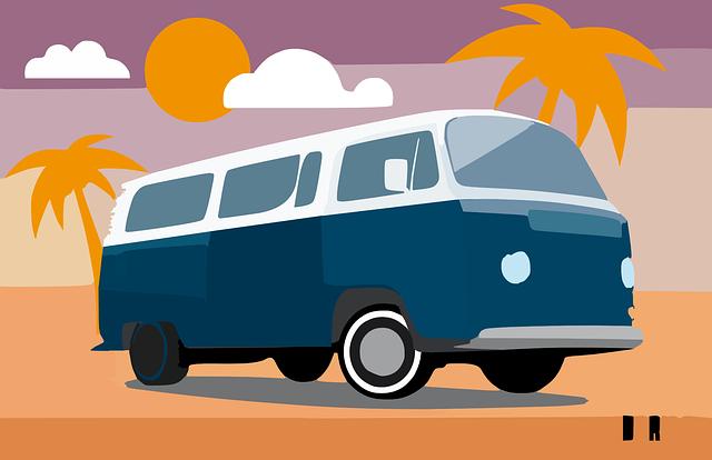 Bus, Transporter, Volkswagen, Safari, Blue, White