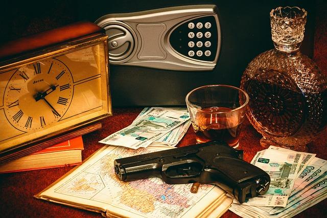Safety Deposit Box, Gun, Money, Clock, Ruble