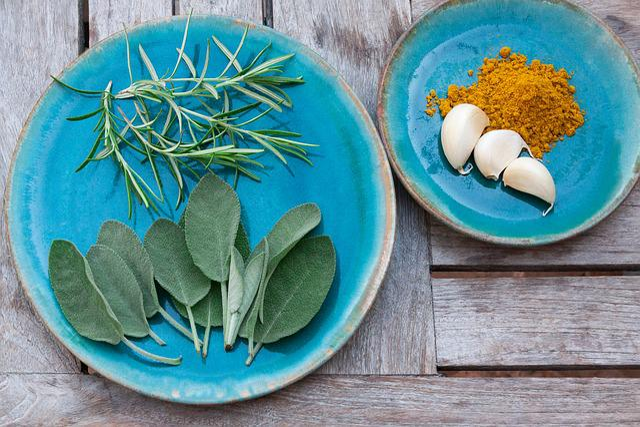 Spice, Rosemary, Sage, Garlic, Curry, Plate, Ceramic