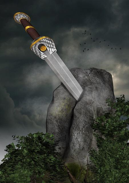 Sword, Stone, Sage, Fairy Tales, Ivy, Symbol, Fantasy