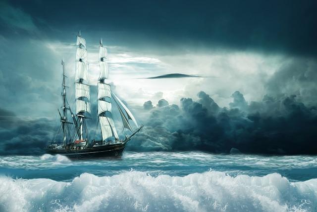 Ship, Boat, Ocean, Forward, Sail, Adventure, Oil, Color
