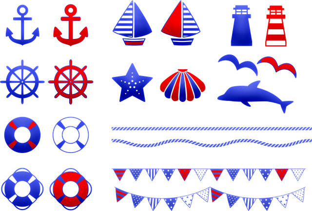 Nautical Clip Art, Nautical Banner, Bunting, Sailboat