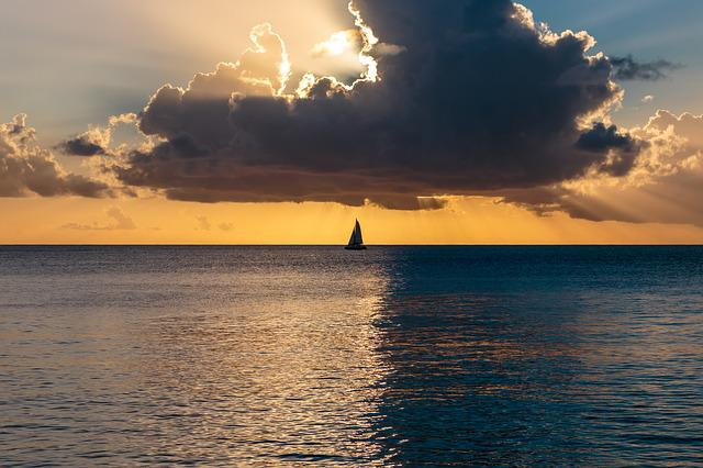 Ocean Sunset, Atlantic Ocean, Barbados, Sailboat