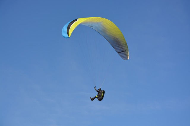 Paragliding, Paraglider, Sailing Blue Yellow