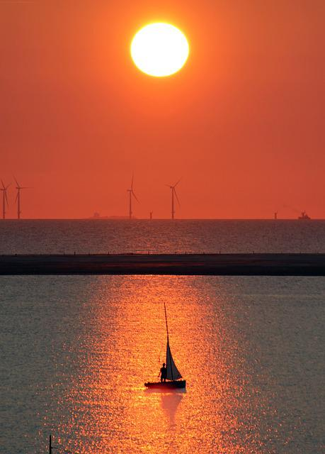 Borkum, Sailing Boat, Seal Bank, Wind Park, North Sea