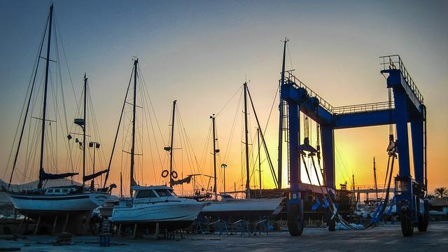 Marina, Portal Crane, Shipyard, Sailing Ships, Laid Up