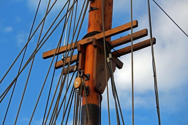Sailing Vessel, Wooden Mast, Harbour Museum, Greifswald