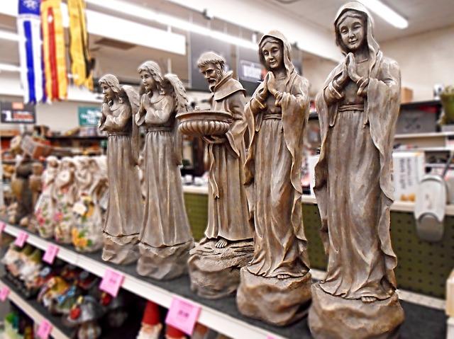 Statue, Christian, Virgin, Saint, Angel, Sculpture