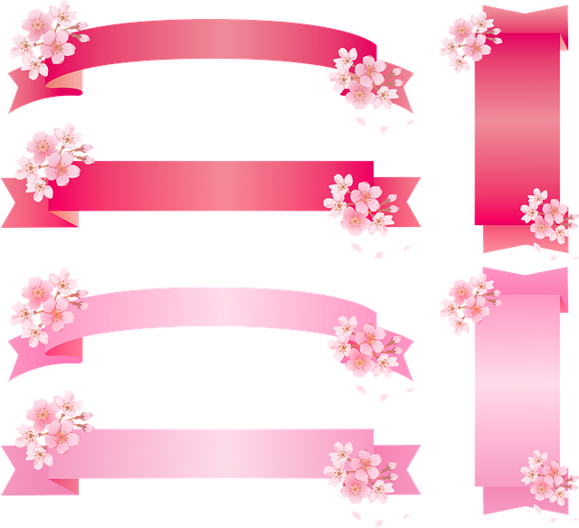 Ribbon, Sakura, Cherry Blossom, Pink Japanese, Label