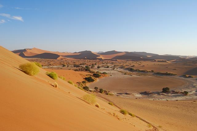 Sossusvlei, Namibia, Desert, Salt Pan, Roter Sand, Dry