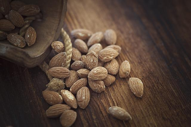 Almonds, Salted, Salted Almonds, Brown, Dark