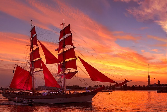 Scarlet Sails, Neva, Evening, Salute, Holiday, Russia