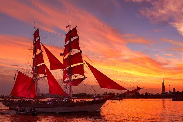 Scarlet Sails, Neva, Evening, Salute, Holiday, Russia